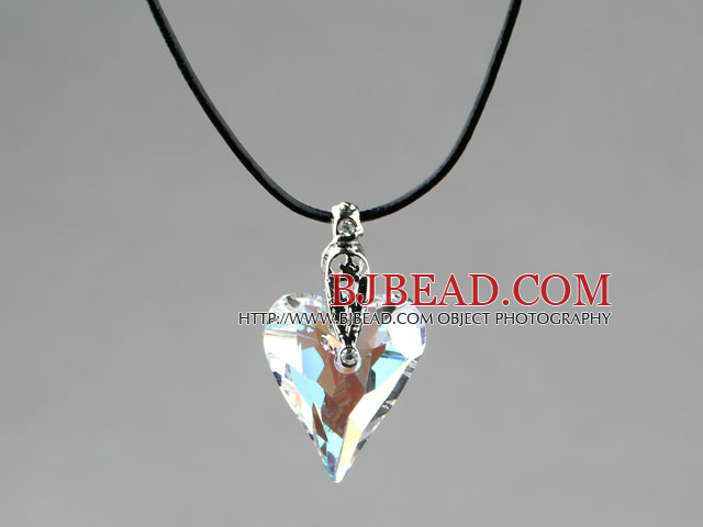 Simple Style 27mm White with Colorful Austrian Crystal Heart Pendant Necklace