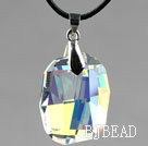 Simple Style 28mm White with Colorful Austrian Crystal Rounded Rectangle Pendant Necklace