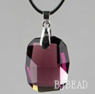 Simple Style 28mm Purple Red Austrian Crystal Rounded Rectangle Pendant Necklace