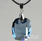 Simple Style 28mm Lake Blue Austrian Crystal Rounded Rectangle Pendant Necklace under $ 40