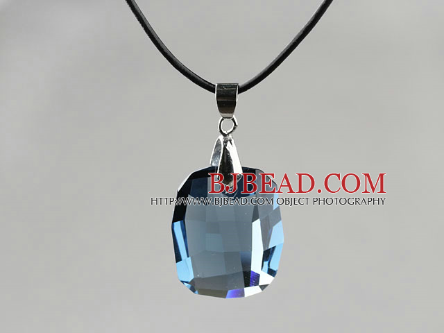 Simple Style 28mm Lake Blue Austrian Crystal Rounded Rectangle Pendant Necklace