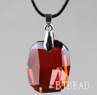 Simple Style 28mm Red Austrian Crystal Rounded Rectangle Pendant Necklace under $ 40