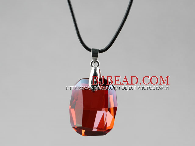 Simple Style 28mm Red Austrian Crystal Rounded Rectangle Pendant Necklace