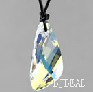 Simple Style 39mm White with Colorful Lean Drop Shape Austrian Crystal Pendant Necklace