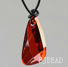 Simple Style 39mm Wine Red Color Lean Drop Shape Austrian Crystal Pendant Necklace