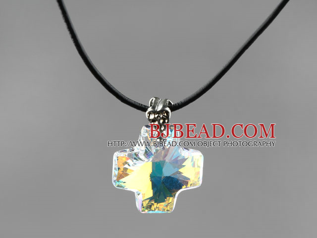 Simple Style 18mm White with Colorful Austrian Crystal Cross Pendant Necklace