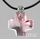 Simple Style 18mm Pink Color Austrian Crystal Cross Pendant Necklace