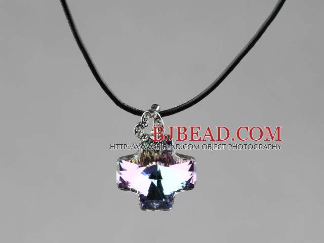Simple Style 18mm Purple with Colorful Austrian Crystal Cross Pendant Necklace