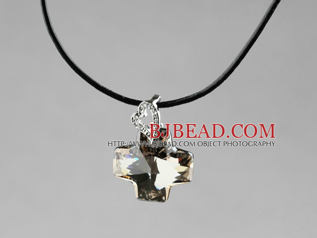 Simple Style 18mm Smoky Color Austrian Crystal Cross Pendant Necklace