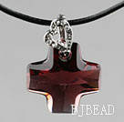 Simple Style 18mm Wine Red Color Austrian Crystal Cross Pendant Necklace