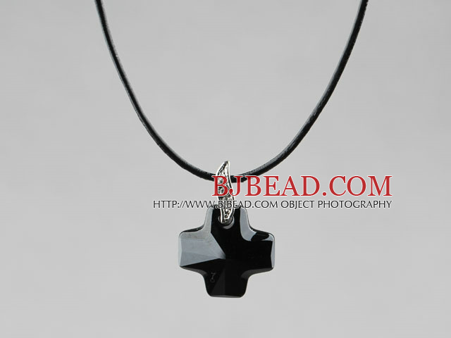 Simple Style 18mm Black Austrian Crystal Cross Pendant Necklace