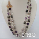 white crystal amethyst black rutilated quartz natural agate flower necklace under $ 40