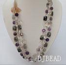 white crystal amethyst black rutilated quartz natural agate flower necklace