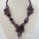 carved amethyst flower necklace with toggle clasp
