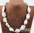 Single Strand Big White Nuclear Pearl Necklace under $ 40