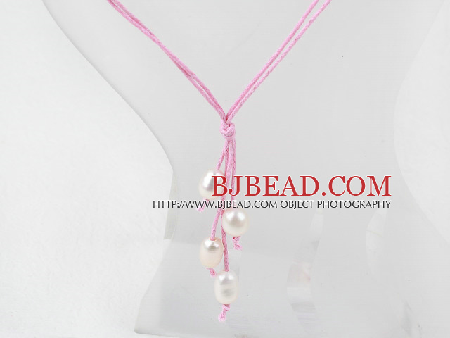 Simple Style Natural White Freshwater Pearl Necklace with Pink Thread