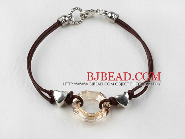 Simple Style Donut Shape Champagne Color Austrian Crystal Bracelet