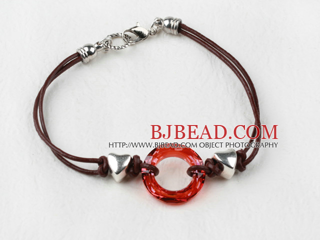 Simple Style Donut Shape Red Color Austrian Crystal Bracelet