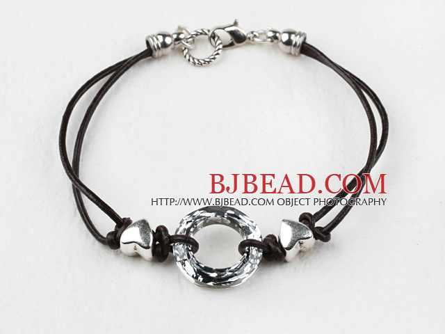 Simple Style Donut Shape Silver Gray Color Austrian Crystal Bracelet