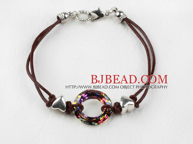 Simple Style Donut Shape Red with Colorful Austrian Crystal Bracelet