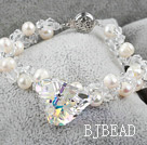 New Design Austrian Crystal and White Freshwater Pearl Bracelet under $ 40