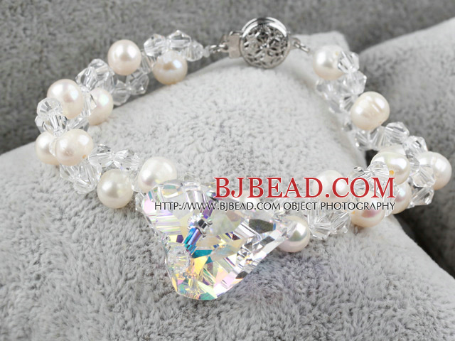New Design Austrian Crystal and White Freshwater Pearl Bracelet
