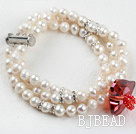 Three Strand White Freshwater Pearl and Heart Shape Austrian Crystal Bridal Bracelet