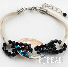 Simple Style Black Crystal and Austrian Crystal Donuts Bracelet with White Cord under $ 40