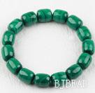 A Grade Drum Shape Natural Malachite Elastic Bangle Bracelet