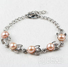 Fashion Style Mabe Pink Freshwater Pearl Metal Bracelet with Adjustable Chain
