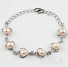 Fashion Style Pink Freshwater Pearl Heart Shape Metal Bracelet with Adjustable Chain