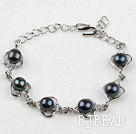 Fashion Style Black Freshwater Pearl Heart Shape Metal Bracelet with Adjustable Chain