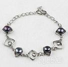 Fashion Style Black Freshwater Pearl Horse Eye Shape Metal Bracelet with Adjustable Chain