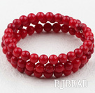 6mm Red Coral Beaded Wrap Bangle Bracelet