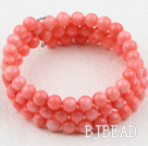 6mm Pink Coral Beaded Wrap Bangle Bracelet