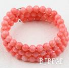 6mm Pink Coral Beaded Wrap Bangle Bracelet under $ 40