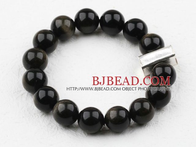 Classic Design 12mm Round Obsidian Beaded Elastic Bracelet with Thai Silver Bullion