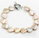 Golden Champagne Color Heart Shape Rebirth Pearl Bracelet with Metal Toggle Clasp