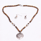 Simple Style Faceted Tiger Eye Stone Beads Jewelry Set(Necklace With Matched Earrings)
