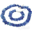6-16mm sea blue crystal chips necklace bracelet set with S shape clasp