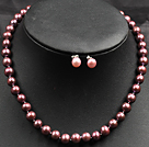 8-9mm Redish Brown Color Pearl Necklace and Matched Studs Earrings Sets