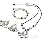 pearl and black lip shell necklace bracelet earring set under $ 40
