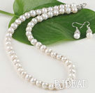 8-9mm cultured natural fresh water pearl necklace  earring set