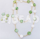 white and green necklace earring set