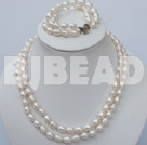 double strand white pearl necklace and bracelet set