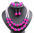 Popular Trendy Style Pink And Rose Red Crystal Beads Jewelry Set (Necklace With Matched Bracelet And Earrings)