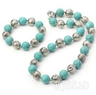 turquoise and tibet silver beaded necklace bracelet set