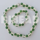 double strand white pearl and aventurine necklace bracelet set