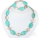 turquoise tibet silver necklace bracelet set with moonlight clasp under $12