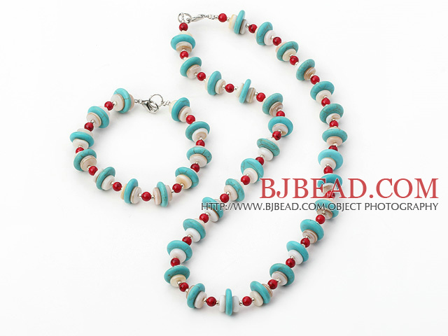 turquoise shell and bloodstone necklace bracelet set